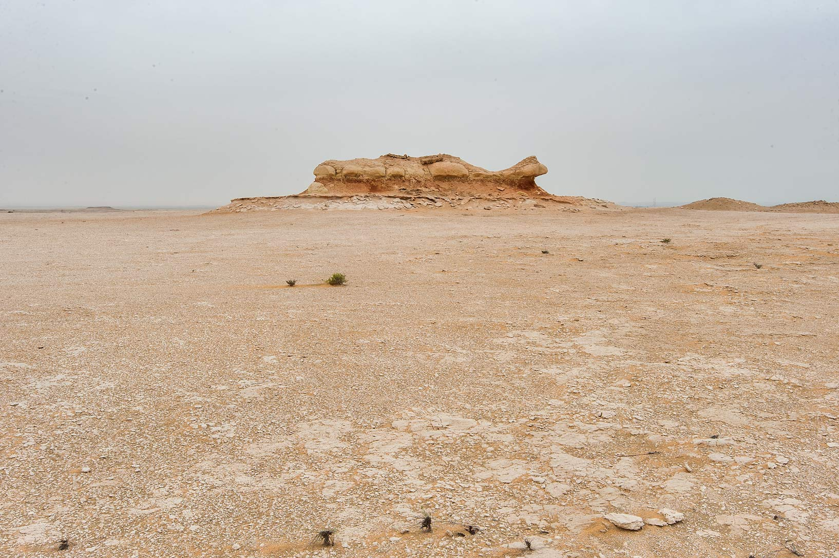 Plateau of a tabletop mountain in Maszhabiya (Al...Reserve near Abu Samra. Southern Qatar