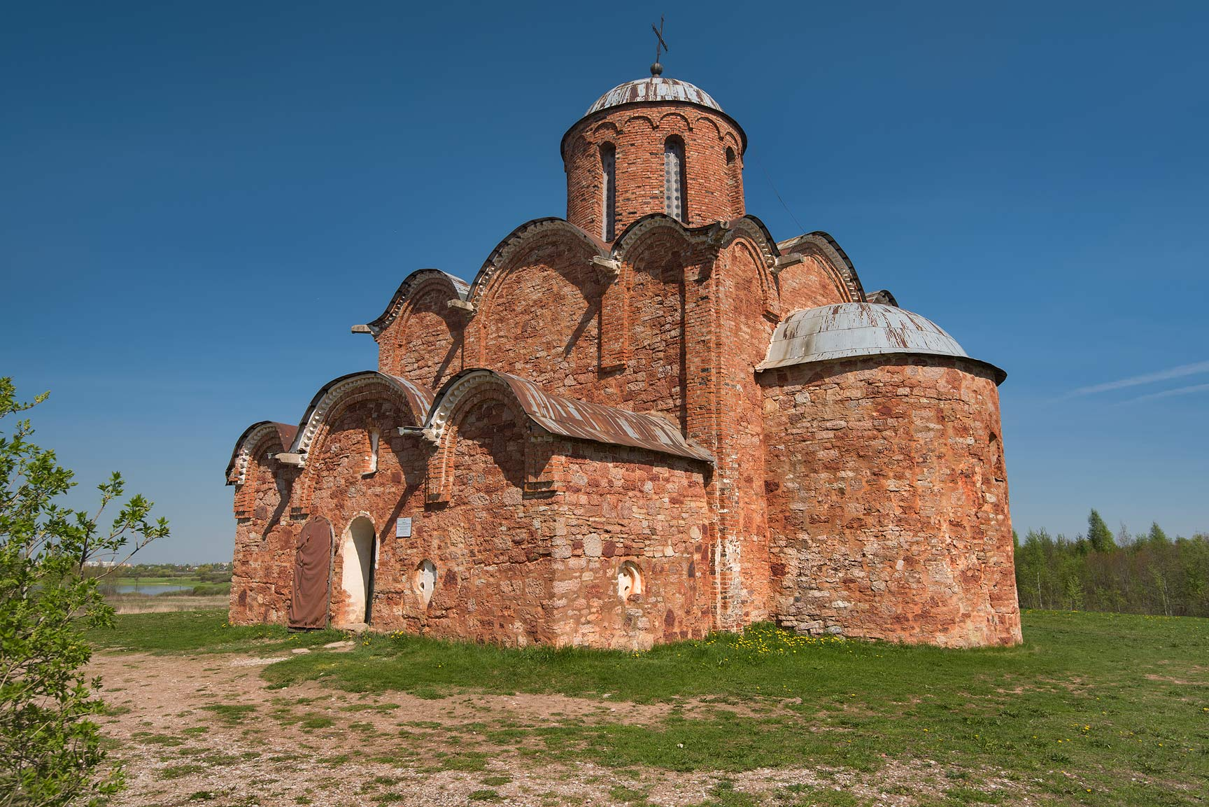 Restored Cathedral of Saviour Transfiguration on Kovaliovo. Novgorod, Russia