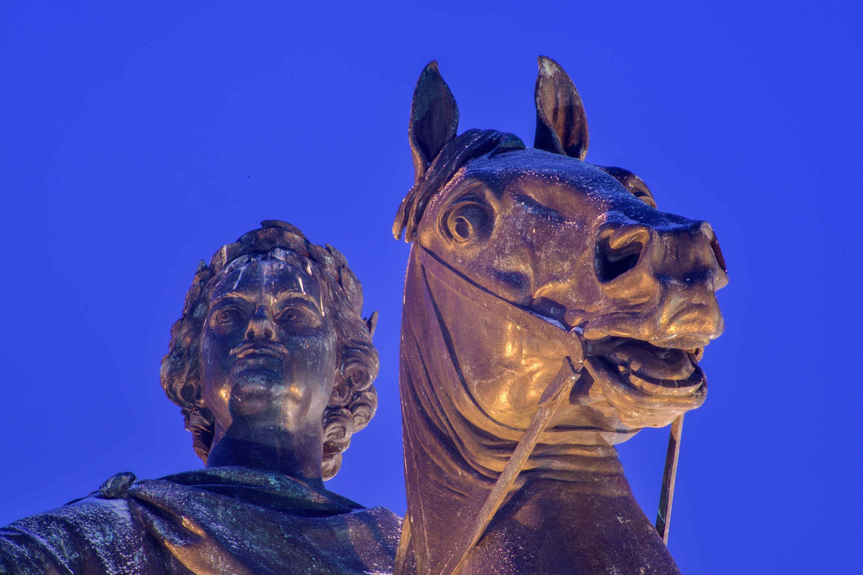 Head side of Bronze Horseman Monument on Senatskaya Square. St.Petersburg, Russia