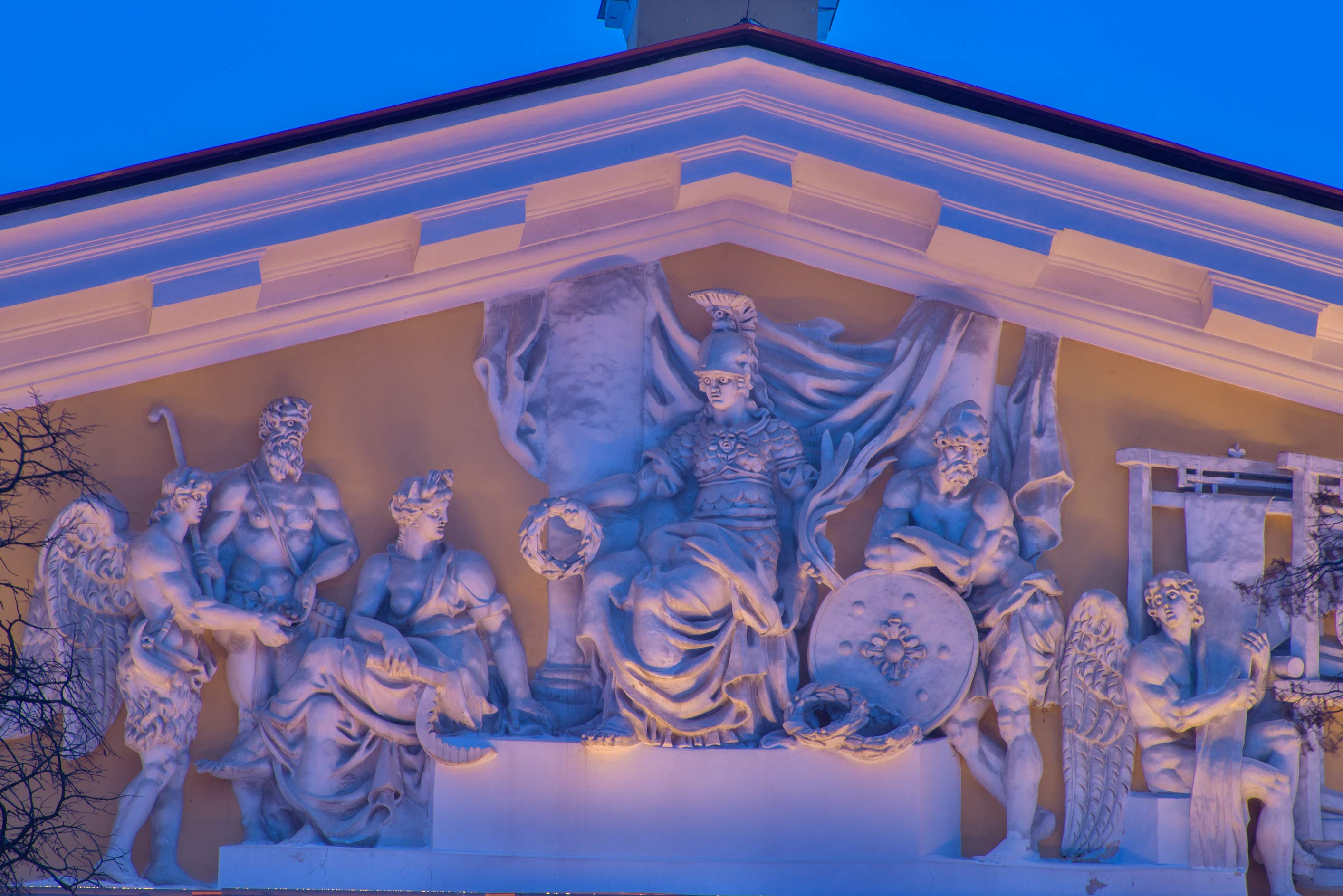 Mythical scene on a pediment of Admiralty. St.Petersburg, Russia