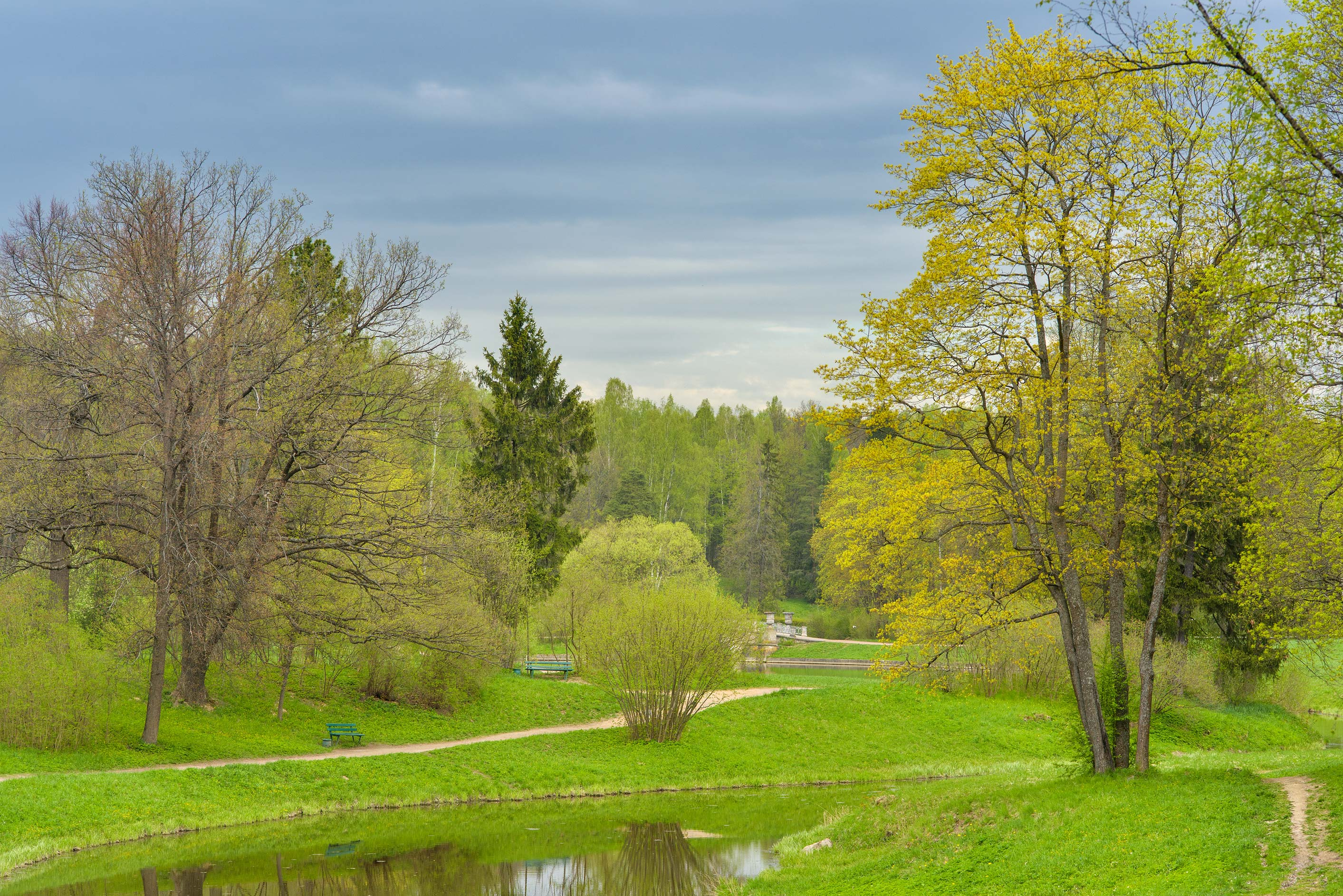 View of Slavianka River in Pavlovsk Park. Pavlovsk, suburb of St.Petersburg, Russia