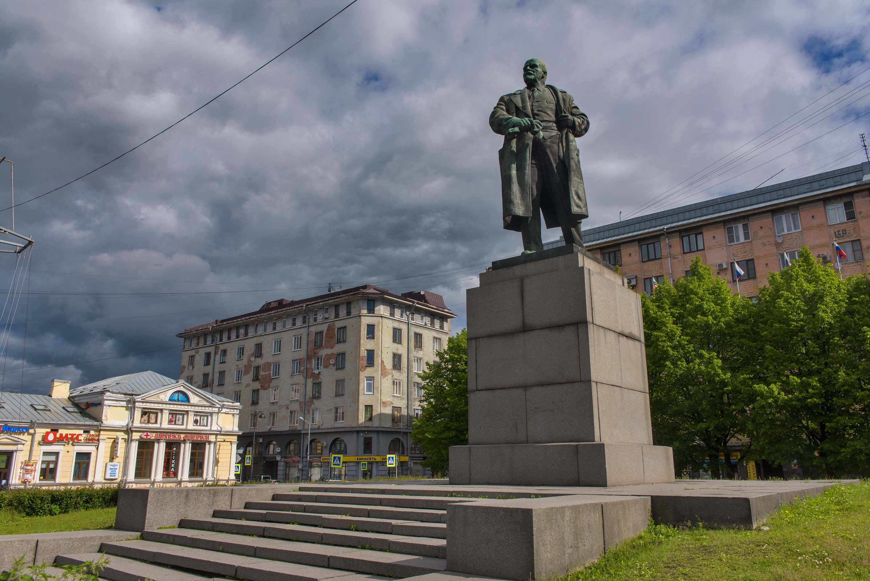 Monument of Russian revolutioner V. I. Lenin on Suvorova St.. Vyborg, Russia