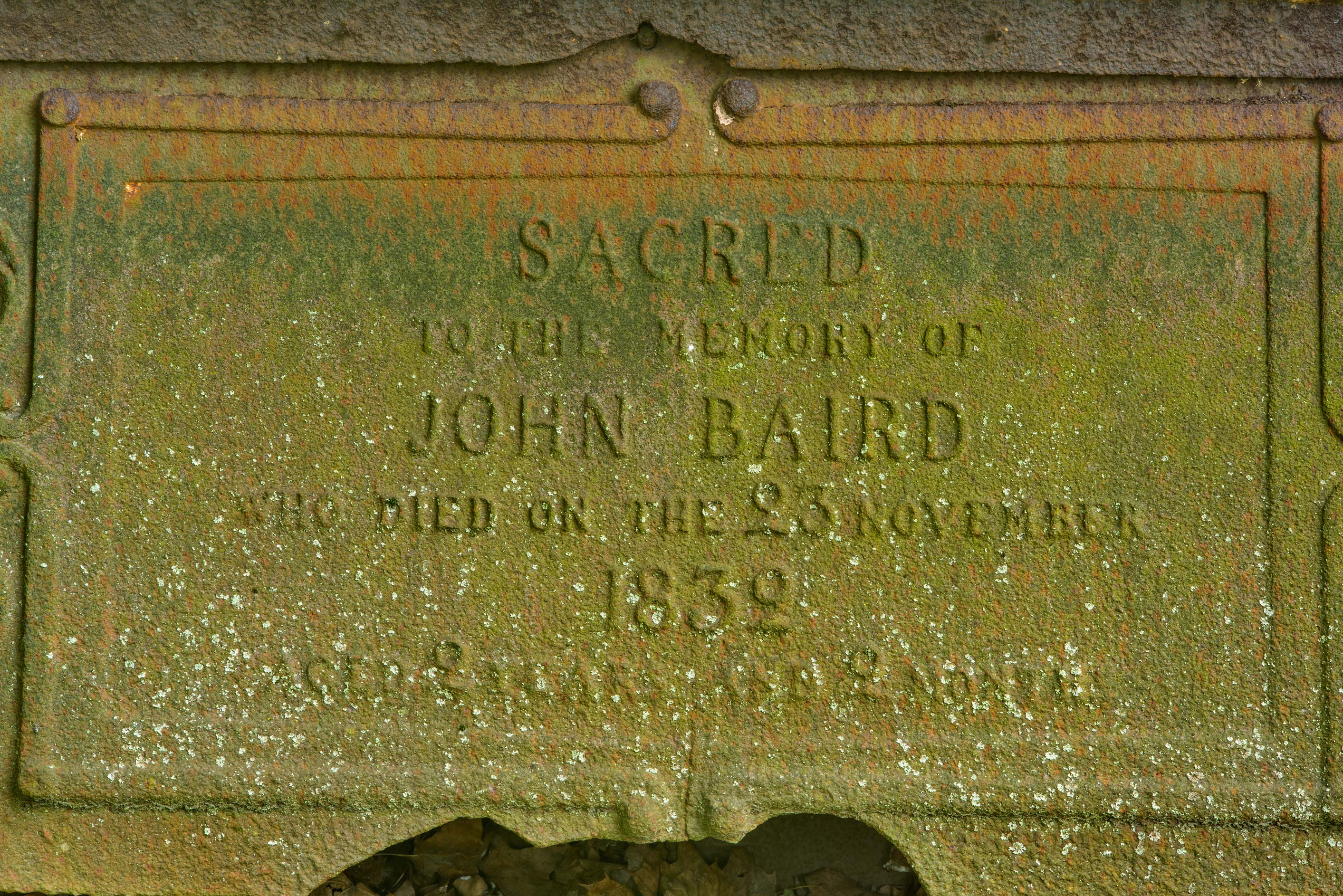 Iron tomb of John Baird in Smolenskoe Cemetery of...Island. St.Petersburg, Russia