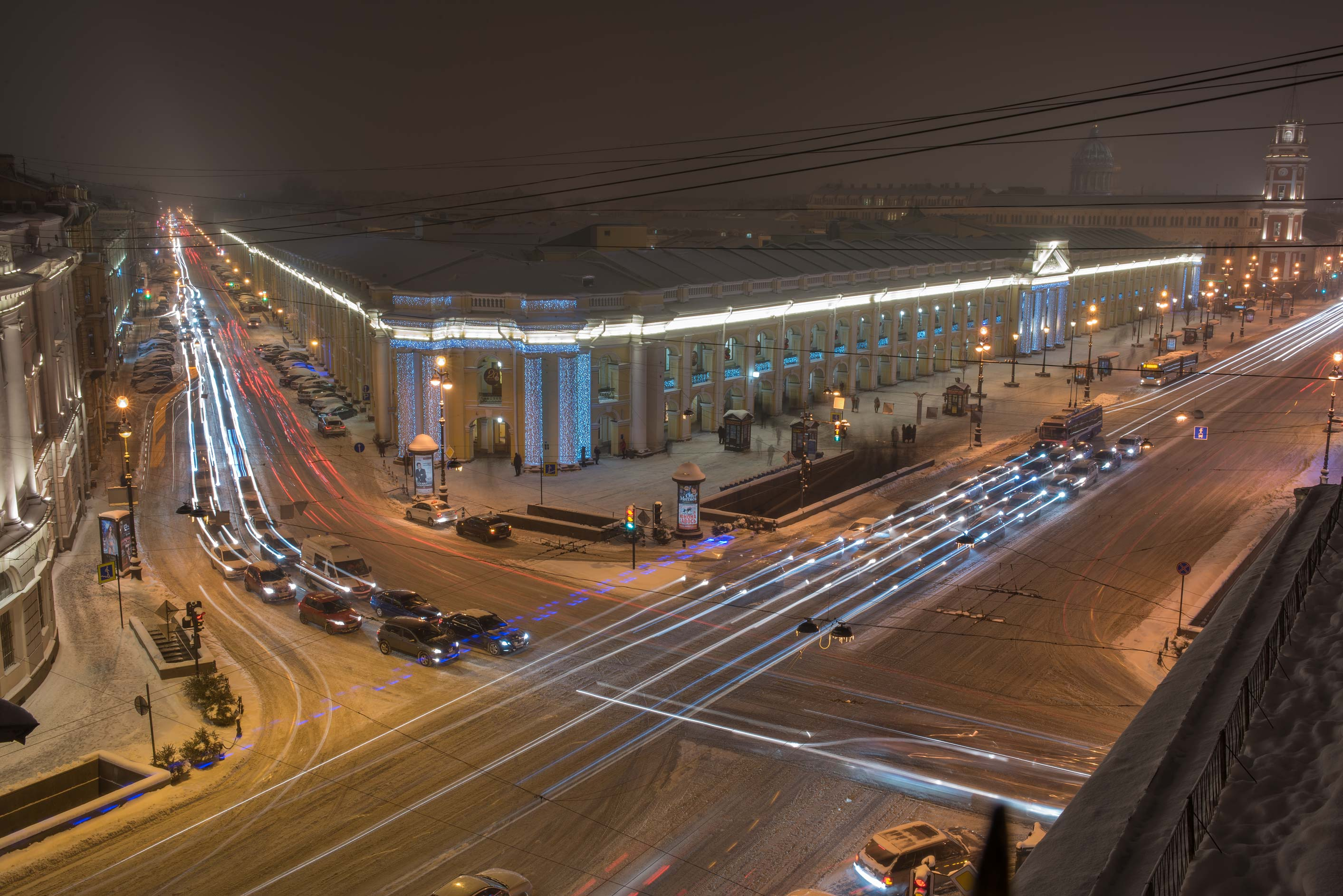 Crossing of Nevsky Prospect and Sadovaya St. at...Bulla Museum. St.Petersburg, Russia
