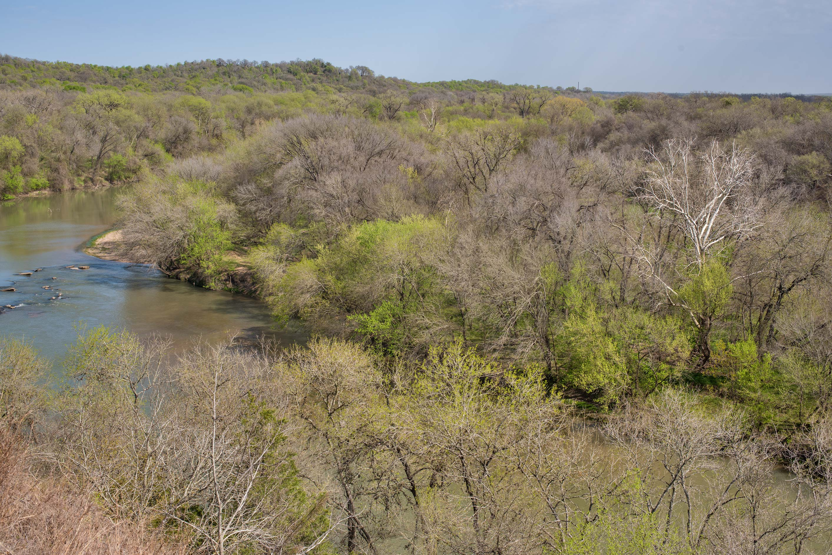 View of Colorado River from Bluff Trail Loop in...Roughs Nature Park near Austin. Texas